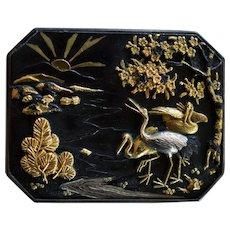 Antique Meiji Era Japanese Shakudo Plaque With Cranes ~ Herons