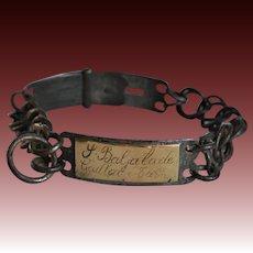 "Antique French Dog Collar ~ ""P. Baljalade Gaillac - Tarn"""