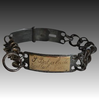 "Antique French Dog Collar ~ ""P. Baljalade Gaillac - Tarn"""