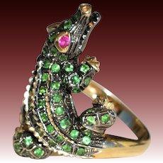 Ruby and Tsavorite Garnet Alligator Ring In 14K Gold