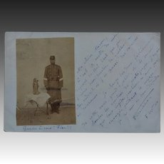 C1904 Antique French Postcard ~ Soldier With Dog Mascot