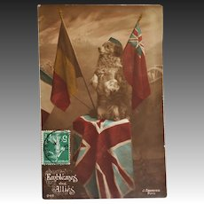 WW1 French Dog Postcard ~ Patriotic Pup