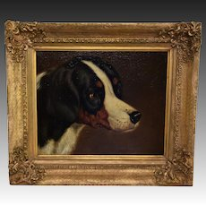 Antique Oil Dog Painting