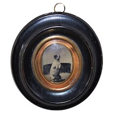 Antique Convex Glass Frame ~ Begging Dog Tintype