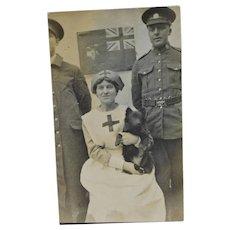 Rare WW1 Red Cross Nurse With Dog RPPC Postcard