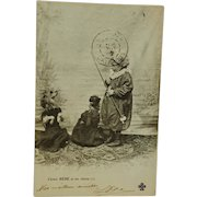 Antique French Postcard ~ Girl With Dressed Dogs C1902