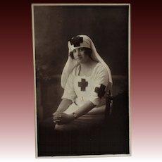 WW1 French RPPC Postcard ~ Red Cross Nurse