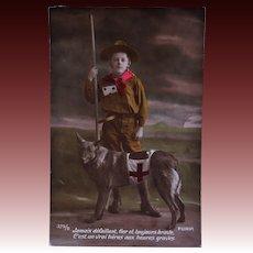 WW1 French Postcard ~ Red Cross Dog With Boy