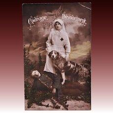 WW1 French Postcard ~ Red Cross Dog And Nurse