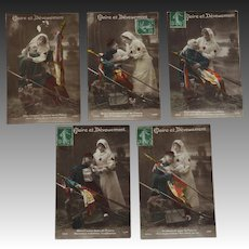 Set Of 5 French WW1 Red Cross Postcards