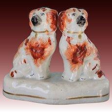 Victorian Staffordshire Spaniel Dog Pair