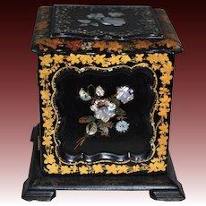 Victorian Papier Mache Three-Drawer Jewelry Box