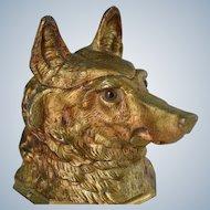 Antique English Gilt Metal Inkwell ~ Shepherd Dog