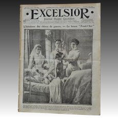 """WW1 French Newspaper """"Excelsior"""" ~ Dog Mascot """"Fend l'Air"""" Saves Master"""