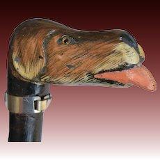 Antique Hand Carved Wooden Folk Art Dog Cane