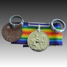 WW1 British Soldier Medal, Dog Tag, Trench Art Rings  ~ Royal Garrison Artillery