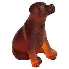 Daum Pate De Verre Glass Figure ~ Labrador Dog