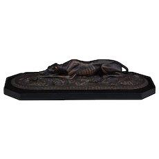 Antique 19C Bronze Recumbent Greyhound Dog