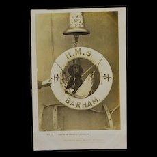 Dog Mascot Postcard British Battleship H.M.S. Barham