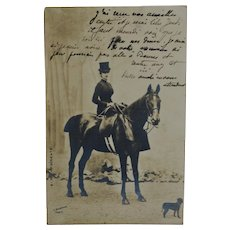 Antique French RPPC Postcard Horse & Dog