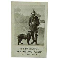 """Fireman Hayward & His Dog """"Jack"""" Tunbridge Wells Postcard"""