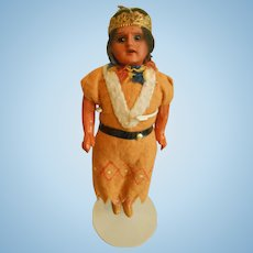 Antique Bisque Head Native American/Indian Doll-All Original, Scowling Expression!