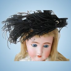 Antique Black Doll Hat with Ostrich Feathers/Faux Pearls-Wonderful!