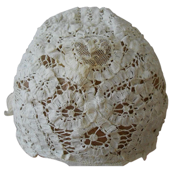 Antique Handmade Lace Bonnet-Beautiful! Child/Doll