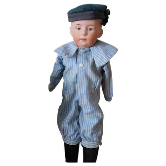 Antique Gebruder Heubach Pouty Boy Doll-Great Sailor Costume-Perfect head!