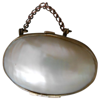 Antique Mother of Pearl & Brass Doll's Purse-Beautiful!