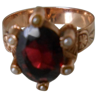 Antique Victorian Rose Gold Garnet & See Pearl Ring-Beautiful-High Quality!