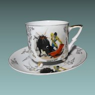 Tri-Footed Cup and Saucer: Bull and Matador