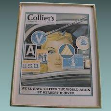 Framed Collier's Magazine Cover Circa 1942