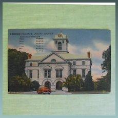 Postcard: Brooks County Courthouse: Quitman, Ga. C: 1953