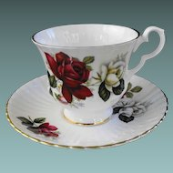 Royal Windsor Cup and Saucer with Deep Red Rose and footed cup