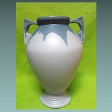 Large roseville carnelian I vase at 15 1/2 inches in blue Circa:1910