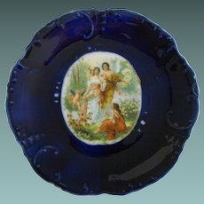 Antique Prussian Cobalt Dresden Medaillon plate -19th century