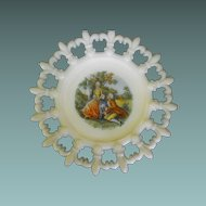 Milk Glass Plate in Fleur De Lis Pattern with Center Scene : Circa: Mid Century