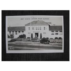 Photo postcard Bret Harte Union High School               Circa: 1950s