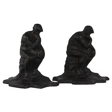 "Cast iron bookends ""The Thinker""                     Circa: 1930s"