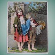 """Trade Card """"The Beggar Children"""""""