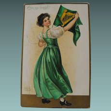 Erin Go Bragh: Lady with Harp Flag