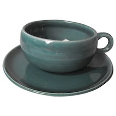 American Modern - seafoam cup and saucer  by Russel Wright
