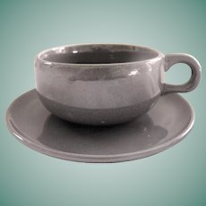 American Modern Granite Grey flat cup and saucer by Russel Wright