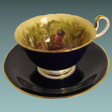 Aynsley Orchard Fruit & Cobalt cup and saucer