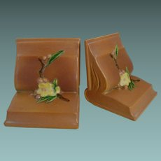 Pink Apple Blossom bookends by Roseville