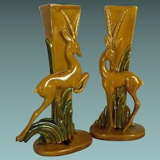 Royal Haeger pair of gazelle (or deer) vases       Mid-Century