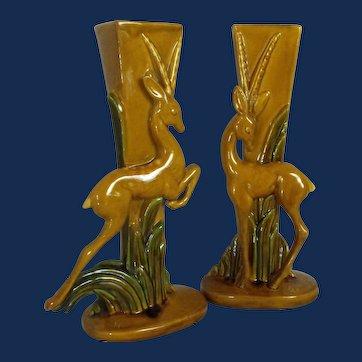 Royal Haeger pair of gazelle (or deer) vases       Mid-Century