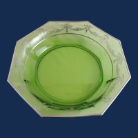"""Octagonal 12.25"""" green bowl with silver overlay"""