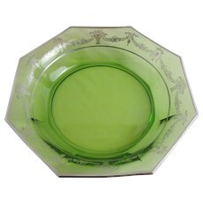 "Octagonal 12.25"" green bowl with silver overlay"